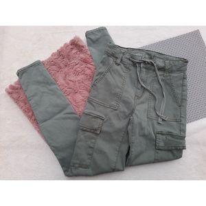 AEO Hi Rise Cargo Jegging Skinny Jeans Green